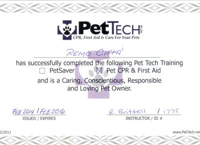 Certified in Pet CPR